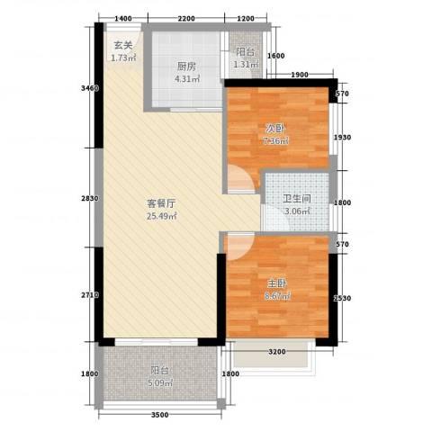 港湾江城2室2厅1卫1厨78.00㎡户型图