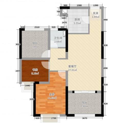 路劲城市主场2室2厅1卫1厨85.00㎡户型图