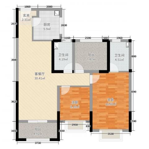 路劲城市主场2室2厅2卫1厨103.00㎡户型图