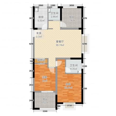路劲城市主场2室2厅2卫1厨108.00㎡户型图