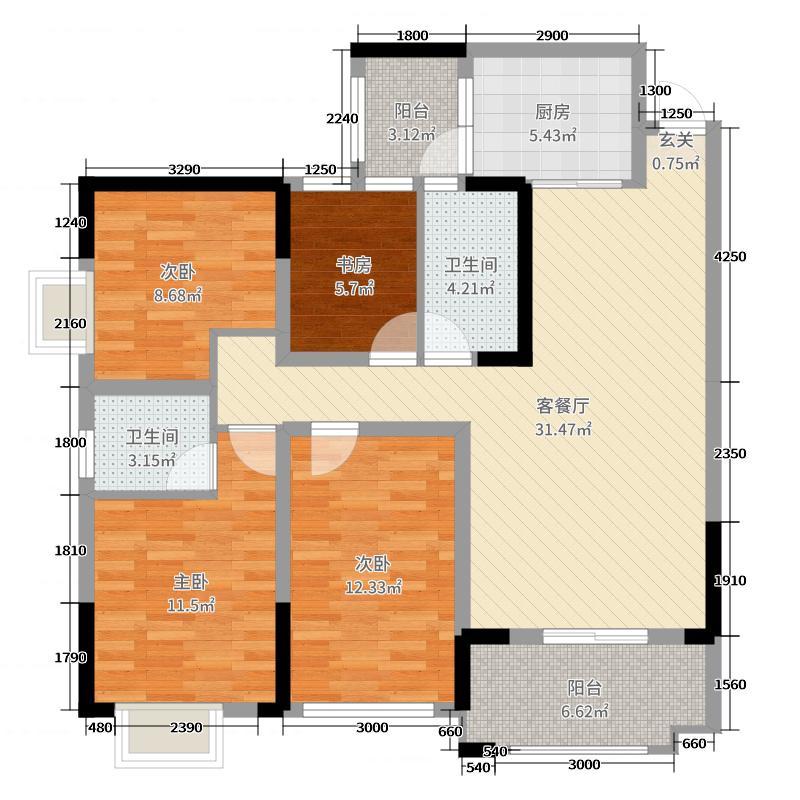 御�X春天114.05㎡21栋22栋23栋E1标准层户型4室4厅2卫1厨