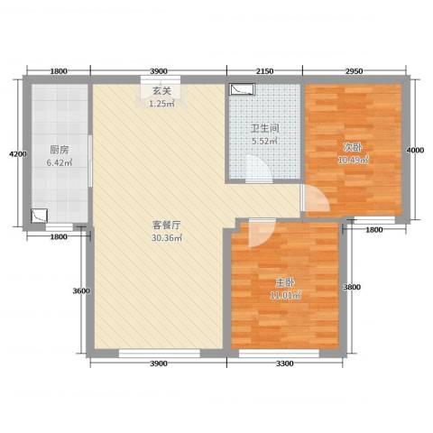 恒昌卢浮公馆2室2厅1卫1厨98.00㎡户型图