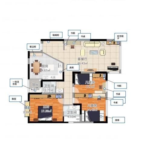 名都凯旋城3室2厅2卫1厨116.69㎡户型图