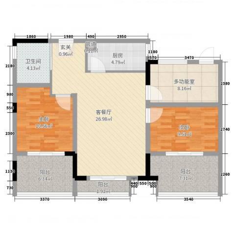 百利广场2室2厅1卫1厨100.00㎡户型图