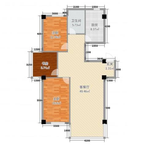 金鼎龙湾二期3室2厅1卫1厨132.00㎡户型图