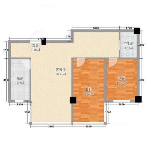 金鼎龙湾二期2室2厅1卫1厨91.00㎡户型图