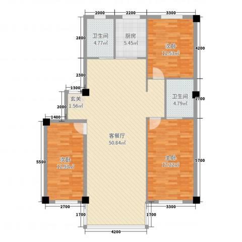 金鼎龙湾二期3室2厅2卫1厨141.00㎡户型图