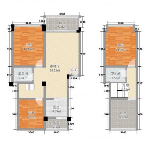 在水一方二期3室2厅2卫1厨101.11㎡户型图
