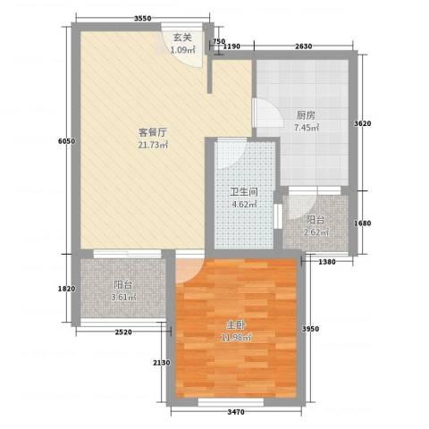 淮安悦达广场1室2厅1卫1厨65.00㎡户型图