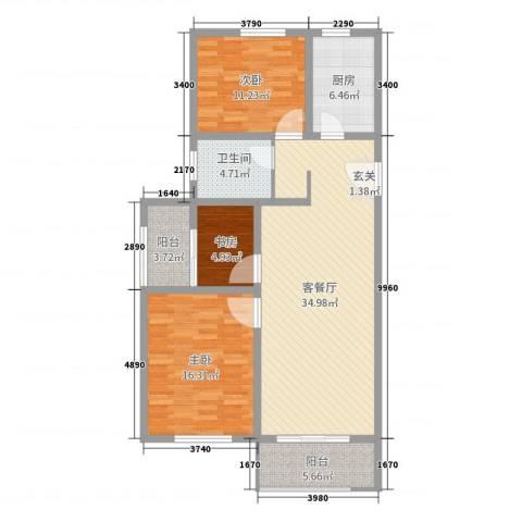 淮安悦达广场3室2厅1卫1厨110.00㎡户型图