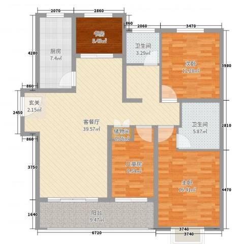 淮安悦达广场4室2厅2卫1厨136.00㎡户型图