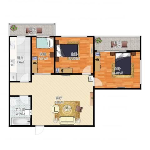 宜昌南里2-8023室1厅1卫1厨103.00㎡户型图