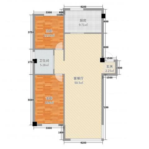 金鼎龙湾二期2室2厅1卫1厨113.00㎡户型图