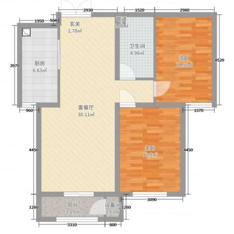蓝爵世家2室2厅1卫1厨88.00㎡户型图