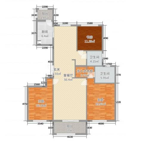 舜大和园3室2厅2卫1厨160.00㎡户型图