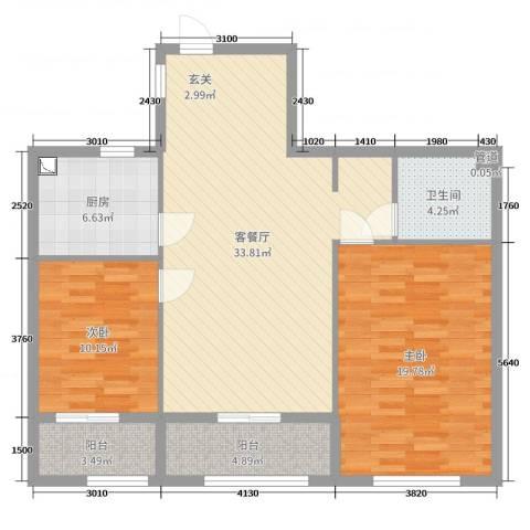 舜大和园2室2厅1卫1厨103.00㎡户型图