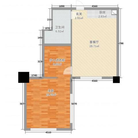 舜大和园1室2厅1卫0厨82.00㎡户型图