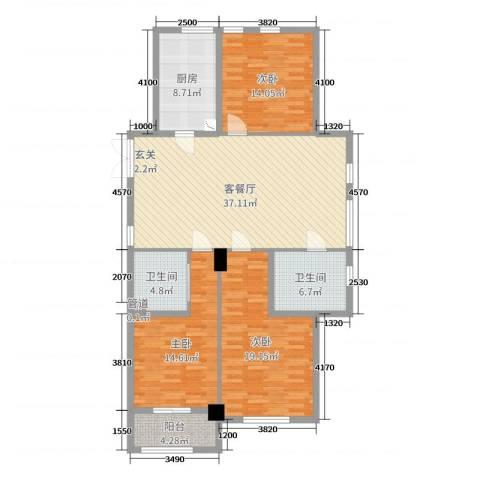 舜大和园3室2厅2卫1厨137.00㎡户型图