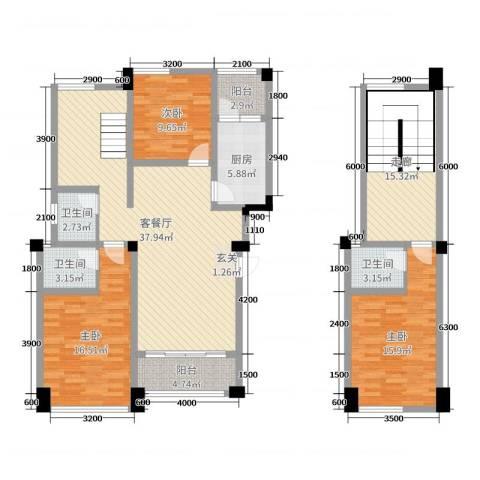 在水一方二期3室2厅3卫1厨127.00㎡户型图
