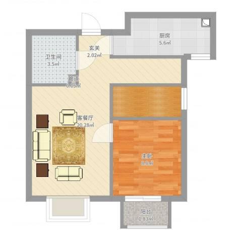 仁泰里1室2厅1卫1厨55.00㎡户型图