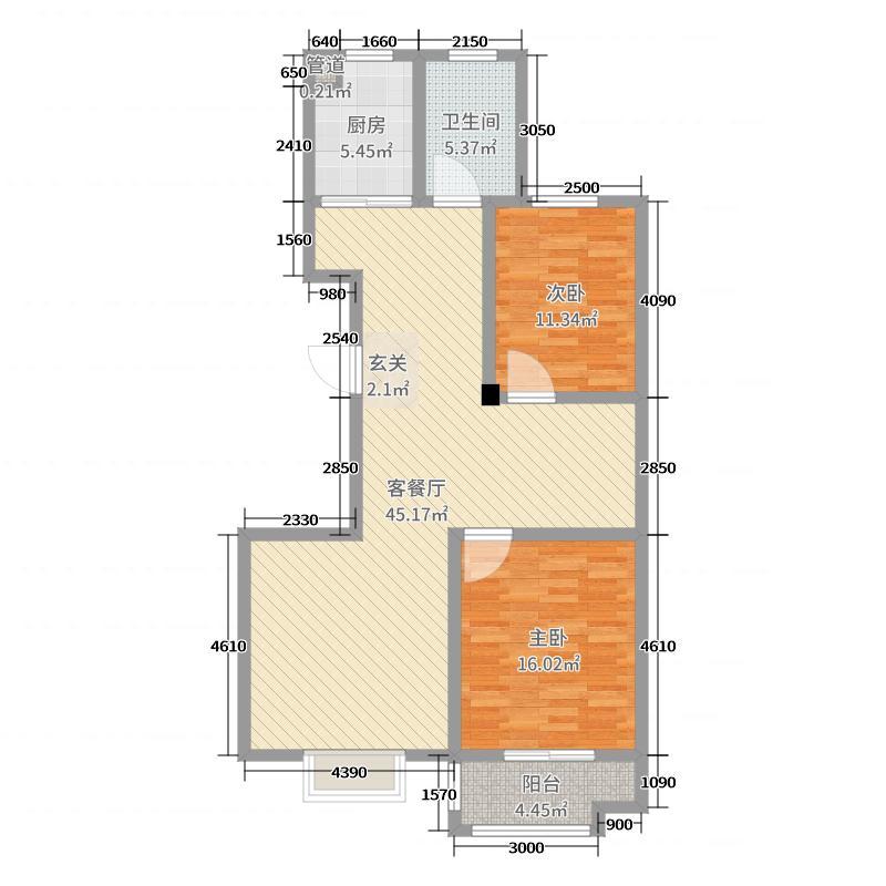 颐中山水缘109.59㎡二期标准层B户型2室2厅1卫1厨