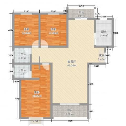 中央花园三期3室2厅2卫1厨140.00㎡户型图