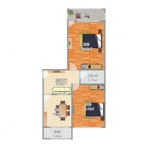 洪楼小区2室2厅1卫1厨84.00㎡户型图