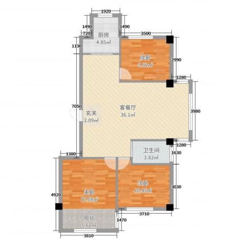 泓都城3室2厅1卫1厨115.00㎡户型图