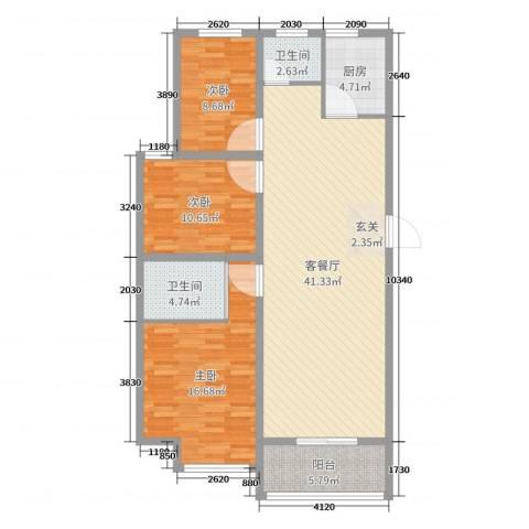 海纳・现代城二期3室2厅2卫1厨119.00㎡户型图