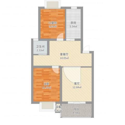 世纪尊园2室3厅1卫1厨76.00㎡户型图