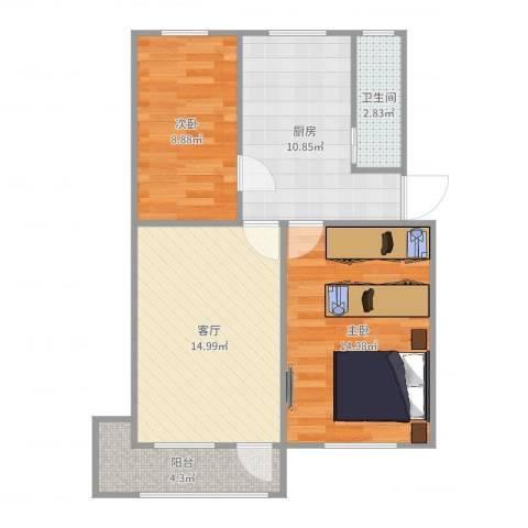 迎宾村2室1厅1卫1厨71.00㎡户型图