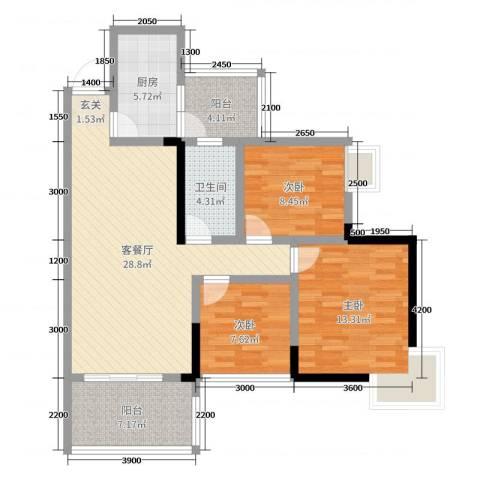 兰乔圣菲3室2厅1卫1厨89.00㎡户型图