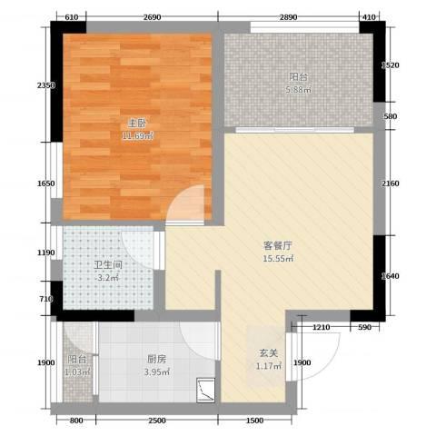 华伦・城市领地1室2厅1卫1厨52.00㎡户型图