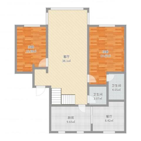 玉华花园8-502复式一层2室2厅2卫1厨117.00㎡户型图
