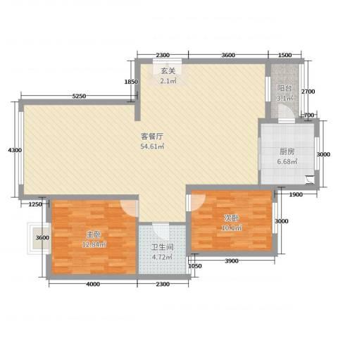 恒昌卢浮公馆2室2厅1卫1厨123.00㎡户型图