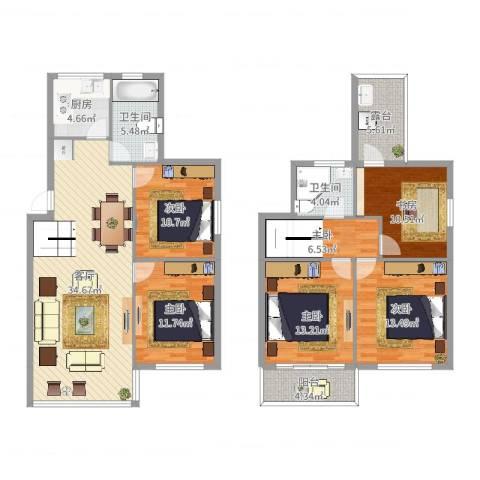 中河丽园6室1厅2卫1厨156.00㎡户型图