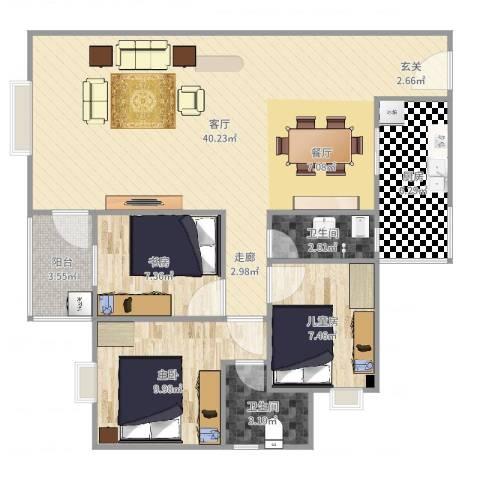 恒晟.百花园小区3室1厅2卫1厨101.00㎡户型图