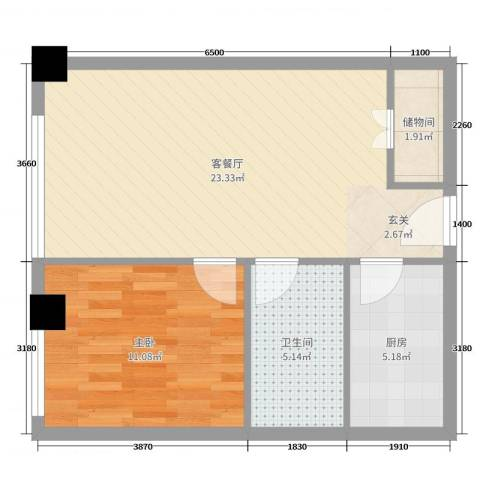 旺角花园1室2厅1卫1厨58.00㎡户型图