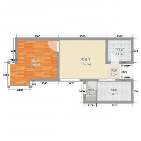 永华新城1室2厅1卫1厨55.00㎡户型图