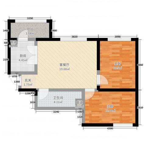 永华新城2室2厅1卫1厨77.00㎡户型图