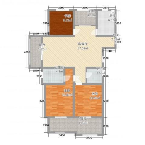 凤凰花园3室2厅2卫1厨143.00㎡户型图