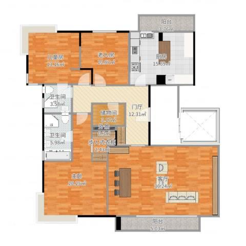 尚浦领世3室1厅2卫1厨166.00㎡户型图
