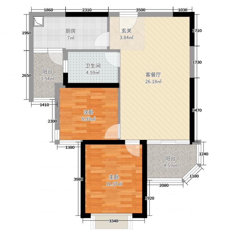恒大翡翠华庭83.00㎡7#楼1单元2户型2室2厅1卫1厨