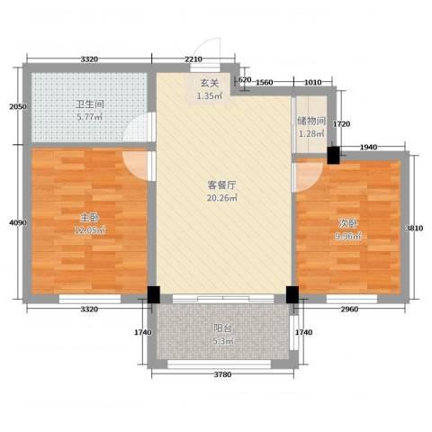 泓都城2室2厅1卫0厨73.00㎡户型图