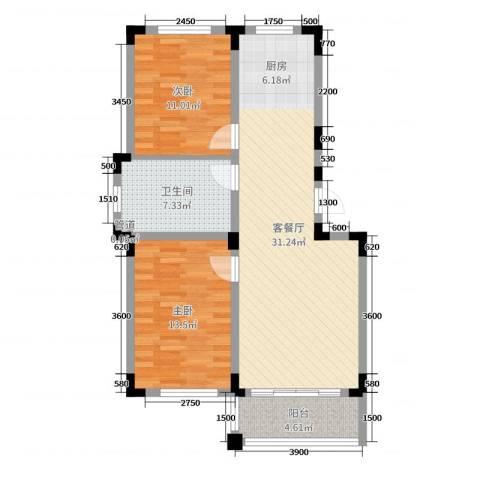 东盛嘉园2室2厅1卫0厨88.00㎡户型图