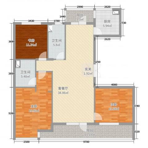 绿城御园别墅3室2厅2卫1厨144.00㎡户型图