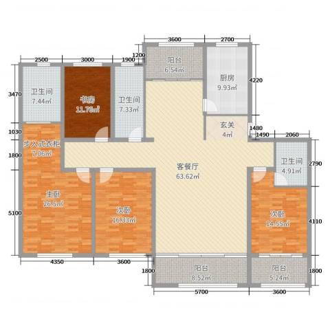 山水龙庭4室2厅3卫1厨220.00㎡户型图