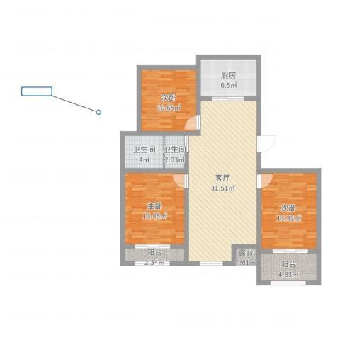 中央华府3室1厅2卫1厨112.00㎡户型图