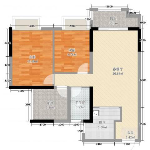 深基天海城市花园2室2厅1卫1厨85.00㎡户型图