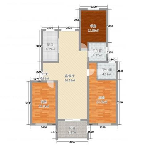 金色蓝庭3室2厅2卫1厨125.00㎡户型图
